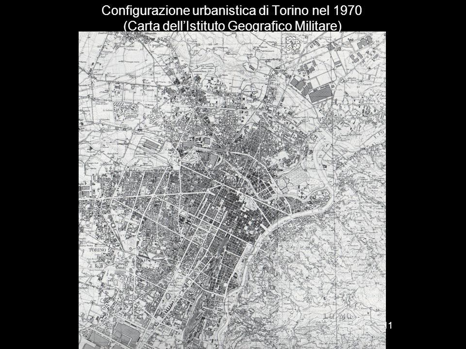 Configurazione urbanistica di Torino nel 1970 (Carta dell'Istituto Geografico Militare) 11