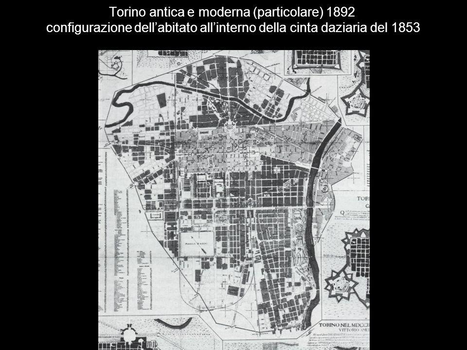 Torino antica e moderna (particolare) 1892 configurazione dell'abitato all'interno della cinta daziaria del 1853