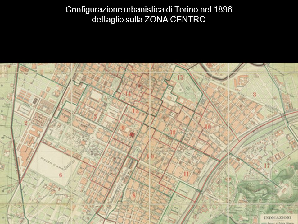 Configurazione urbanistica di Torino nel 1896 dettaglio sulla ZONA CENTRO