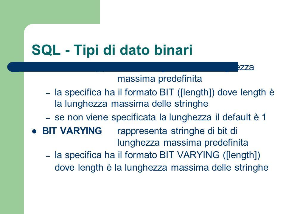 SQL - Tipi di dato binari BIT rappresenta stringhe di bit di lunghezza massima predefinita – la specifica ha il formato BIT ([length]) dove length è l