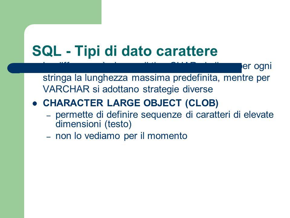 SQL - Tipi di dato carattere La differenza è che per il tipo CHAR si alloca per ogni stringa la lunghezza massima predefinita, mentre per VARCHAR si a