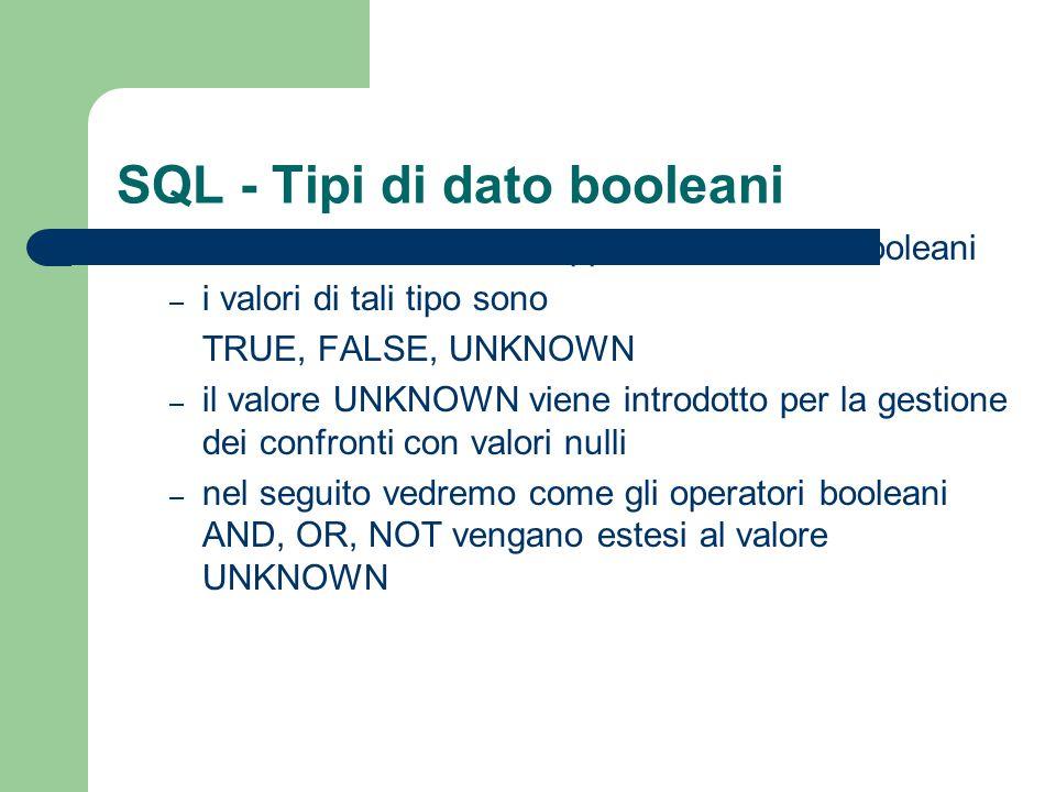 SQL - Tipi di dato booleani BOOLEANrappresenta i valori booleani – i valori di tali tipo sono TRUE, FALSE, UNKNOWN – il valore UNKNOWN viene introdott