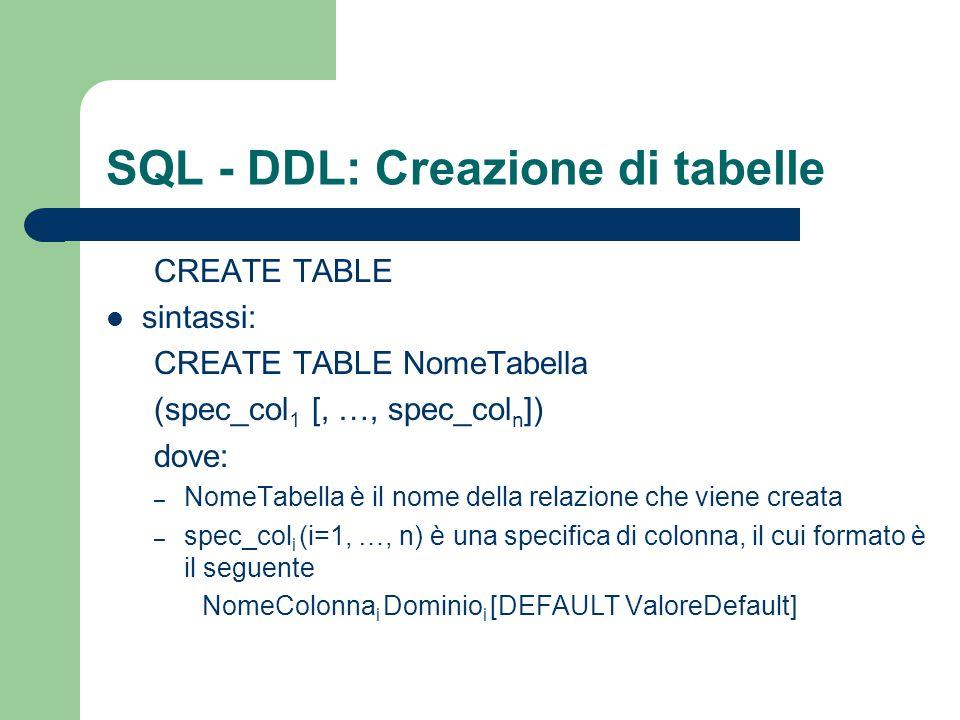 SQL - DDL: Creazione di tabelle La creazione avviene tramite il comando di CREATE TABLE sintassi: CREATE TABLE NomeTabella (spec_col 1 [, …, spec_col