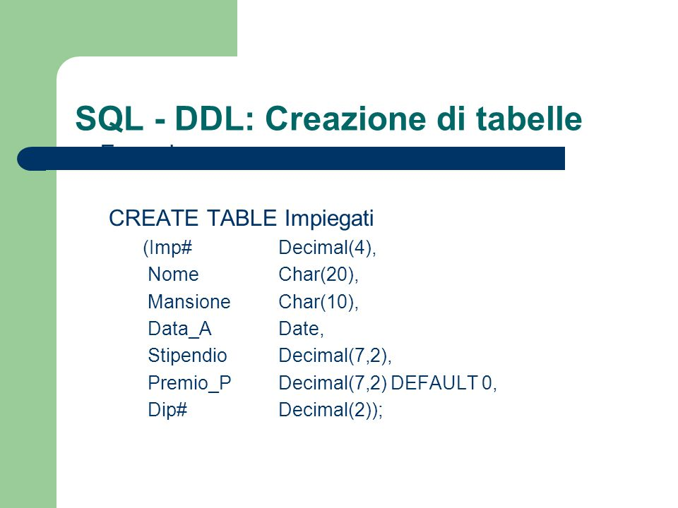 SQL - DDL: Creazione di tabelle Esempio: CREATE TABLE Impiegati (Imp# Decimal(4), Nome Char(20), Mansione Char(10), Data_A Date, Stipendio Decimal(7,2