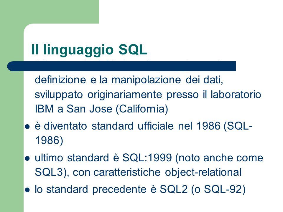 SQL - Constraint È possibile assegnare un nome ai vincoli, facendo seguire la specifica del vincolo dalla parola chiave CONSTRAINT e dal nome esempi: – Imp# Char(6) CONSTRAINT ChiaveImp PRIMARY KEY – CONSTRAINT StipOk CHECK (Stipendio > PremioP) specificare un nome per i vincoli è utile per potervisi poi riferire (ad esempio per modificarli)
