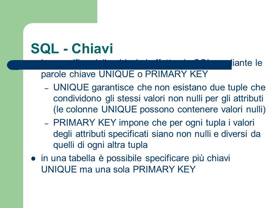 SQL - Chiavi La specifica delle chiavi si effettua in SQL mediante le parole chiave UNIQUE o PRIMARY KEY – UNIQUE garantisce che non esistano due tupl