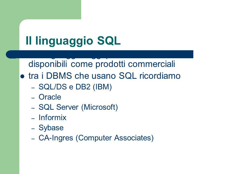 SQL - Tipi di dato I tipi di dato in SQL:1999 si suddividono in – tipi predefiniti – tipi strutturati – tipi user-defined ci concentreremo sui tipi predefiniti i tipi predefiniti sono suddivisi in cinque categorie – tipi numerici – tipi binari – tipi carattere – tipi temporali – tipi booleani