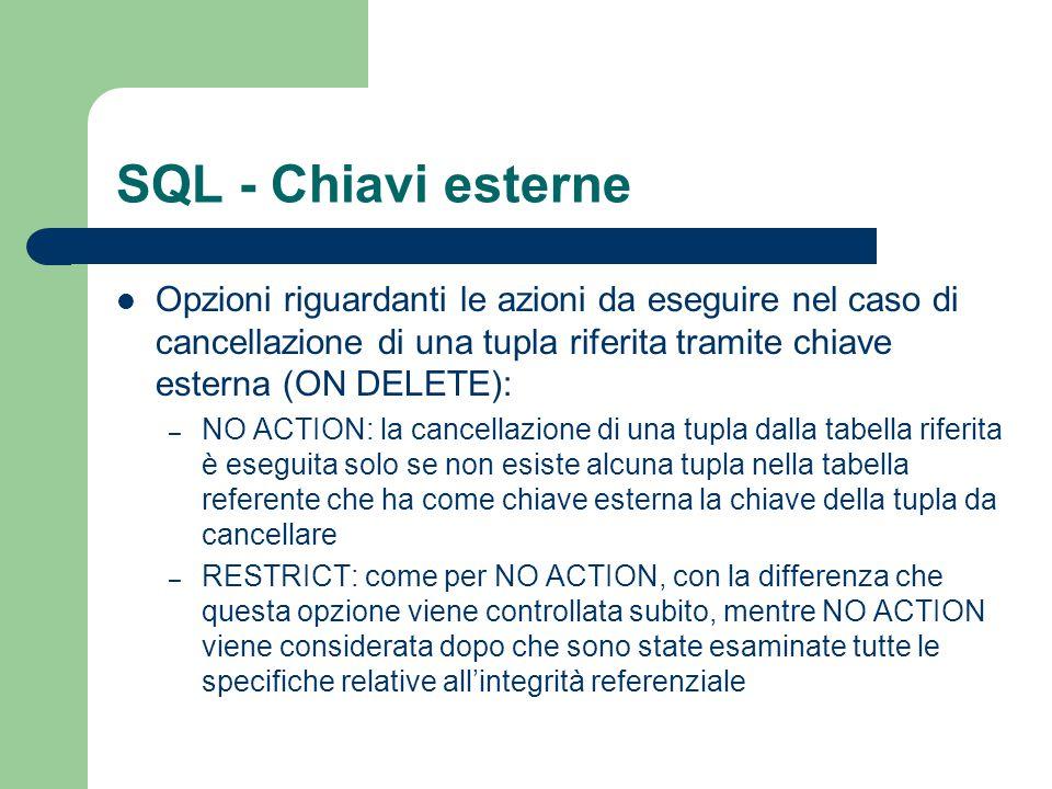 SQL - Chiavi esterne Opzioni riguardanti le azioni da eseguire nel caso di cancellazione di una tupla riferita tramite chiave esterna (ON DELETE): – N