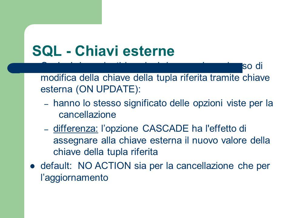 SQL - Chiavi esterne Opzioni riguardanti le azioni da eseguire nel caso di modifica della chiave della tupla riferita tramite chiave esterna (ON UPDAT
