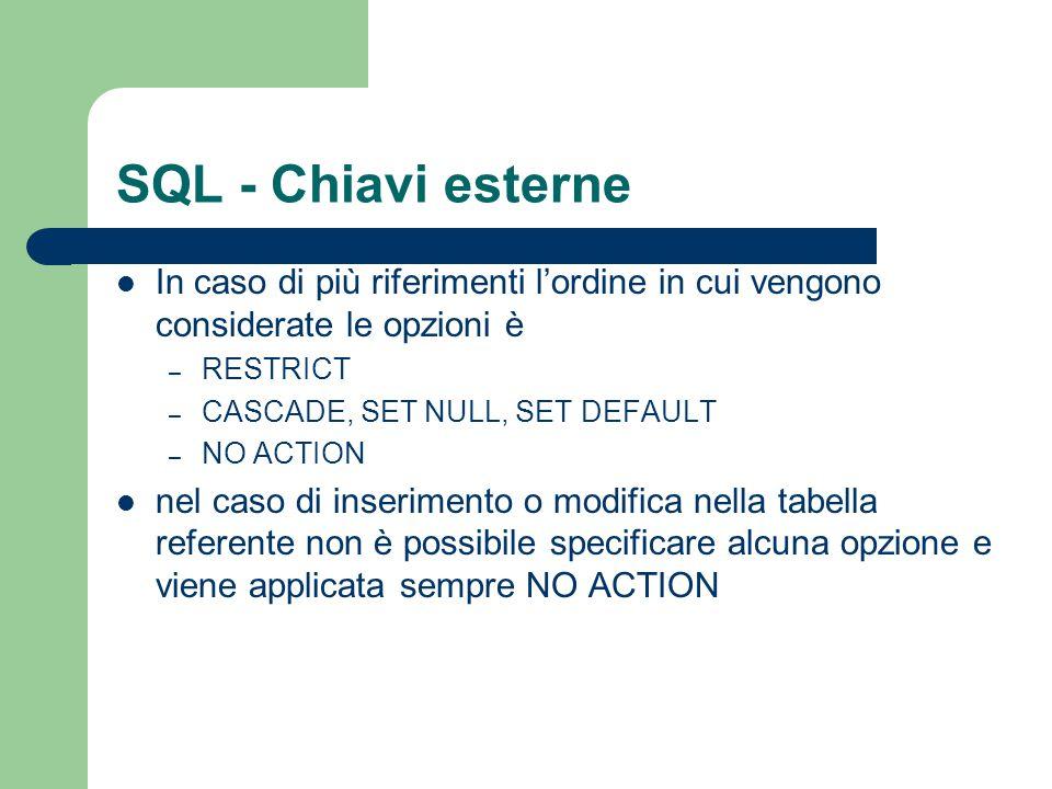 SQL - Chiavi esterne In caso di più riferimenti l'ordine in cui vengono considerate le opzioni è – RESTRICT – CASCADE, SET NULL, SET DEFAULT – NO ACTI