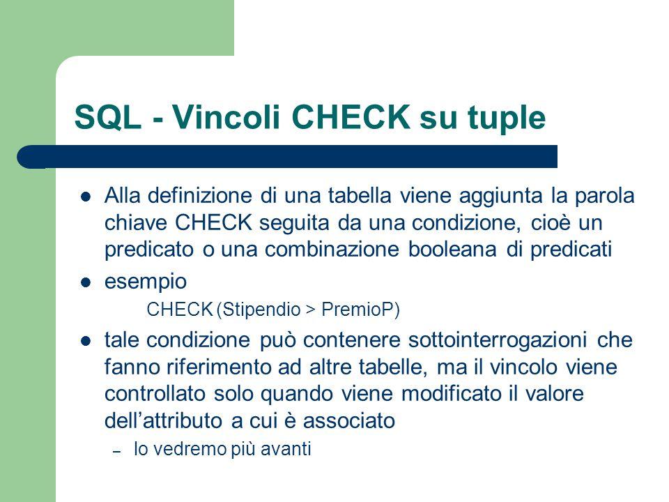 SQL - Vincoli CHECK su tuple Alla definizione di una tabella viene aggiunta la parola chiave CHECK seguita da una condizione, cioè un predicato o una