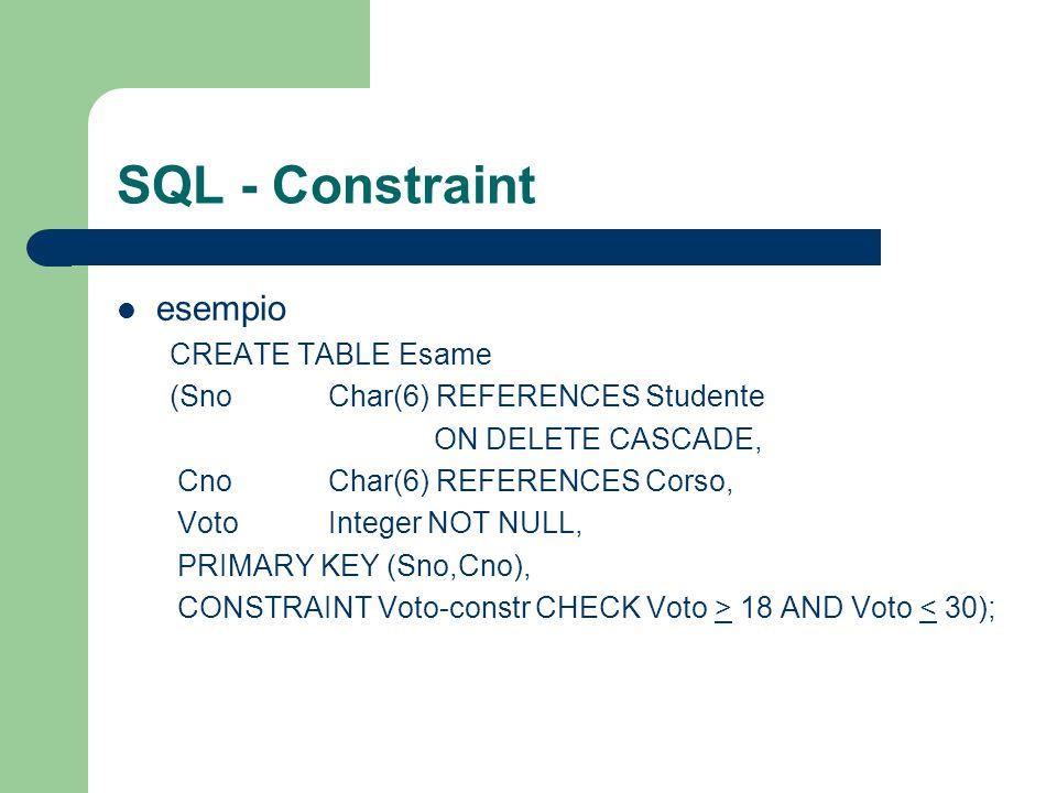 SQL - Constraint esempio CREATE TABLE Esame (Sno Char(6) REFERENCES Studente ON DELETE CASCADE, Cno Char(6) REFERENCES Corso, VotoInteger NOT NULL, PR