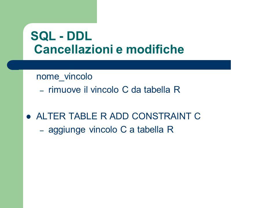 SQL - DDL Cancellazioni e modifiche ALTER TABLE R DROP CONSTRAINT nome_vincolo – rimuove il vincolo C da tabella R ALTER TABLE R ADD CONSTRAINT C – ag
