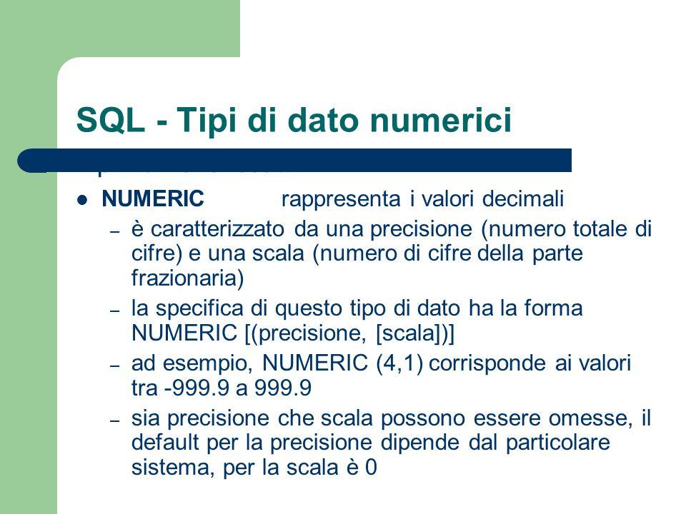 SQL - Tipi di dato numerici Tipi numerici esatti: DECIMALrappresenta i valori decimali – è simile al tipo NUMERIC – la specifica di questo tipo di dato ha la forma DECIMAL [(precisione, [scala])] La differenza tra NUMERIC e DECIMAL è che il primo deve essere implementato esattamente con la precisione richiesta, mentre il secondo può avere una precisione maggiore