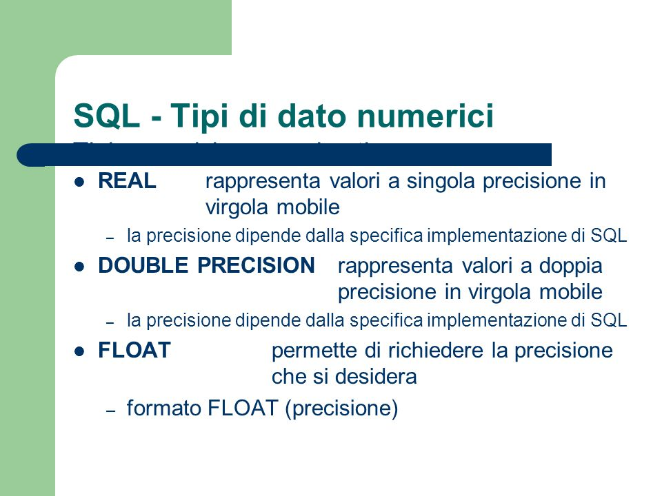 SQL - Interrogazioni Outer join - esempio RABSBC a11x b23v SELECT A, B, C FROM R NATURAL LEFT OUTER JOIN S; ABC a1x b2NULL