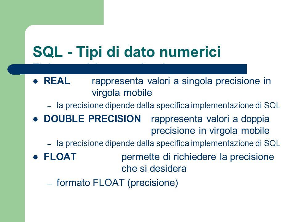 SQL - Chiavi La specifica delle chiavi si effettua in SQL mediante le parole chiave UNIQUE o PRIMARY KEY – UNIQUE garantisce che non esistano due tuple che condividono gli stessi valori non nulli per gli attributi (le colonne UNIQUE possono contenere valori nulli) – PRIMARY KEY impone che per ogni tupla i valori degli attributi specificati siano non nulli e diversi da quelli di ogni altra tupla in una tabella è possibile specificare più chiavi UNIQUE ma una sola PRIMARY KEY