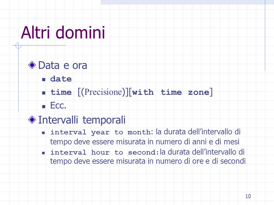 10 Altri domini Data e ora date time [( Precisione )][ with time zone ] Ecc.