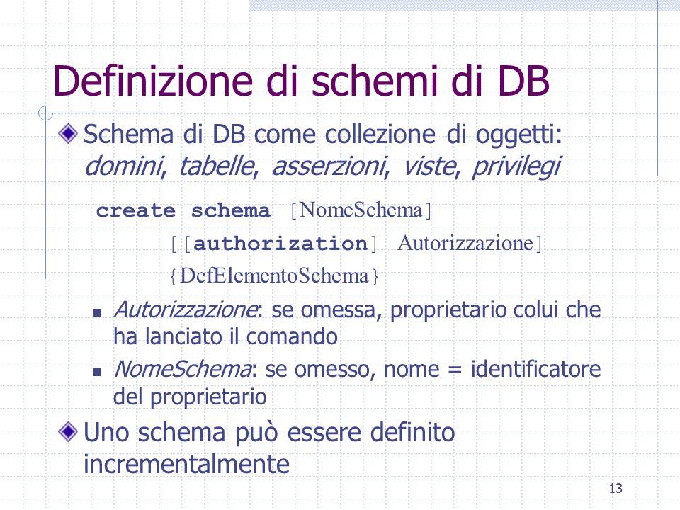 13 Definizione di schemi di DB Schema di DB come collezione di oggetti: domini, tabelle, asserzioni, viste, privilegi create schema [ NomeSchema ] [[authorization] Autorizzazione ] { DefElementoSchema } Autorizzazione: se omessa, proprietario colui che ha lanciato il comando NomeSchema: se omesso, nome = identificatore del proprietario Uno schema può essere definito incrementalmente