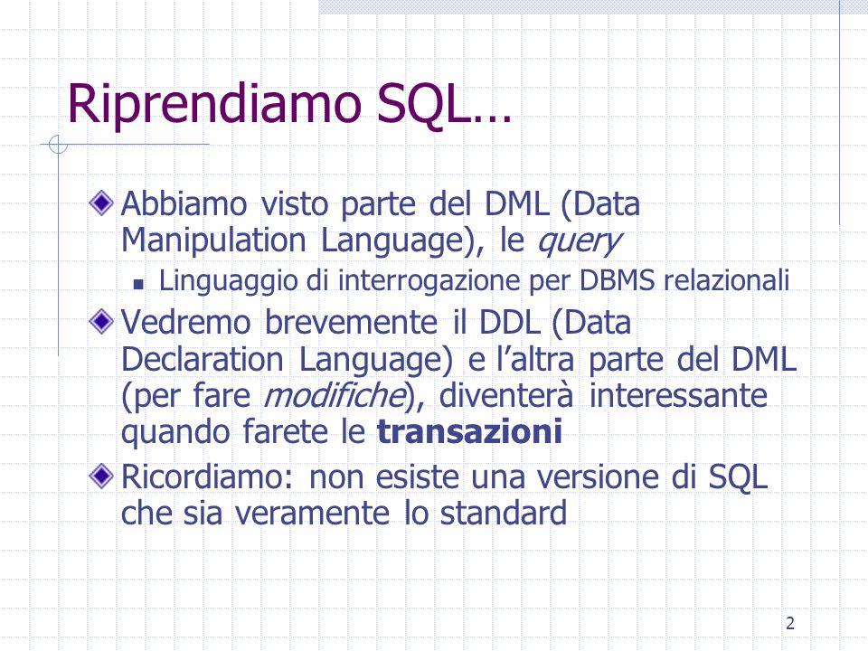 2 Riprendiamo SQL… Abbiamo visto parte del DML (Data Manipulation Language), le query Linguaggio di interrogazione per DBMS relazionali Vedremo brevemente il DDL (Data Declaration Language) e l'altra parte del DML (per fare modifiche), diventerà interessante quando farete le transazioni Ricordiamo: non esiste una versione di SQL che sia veramente lo standard