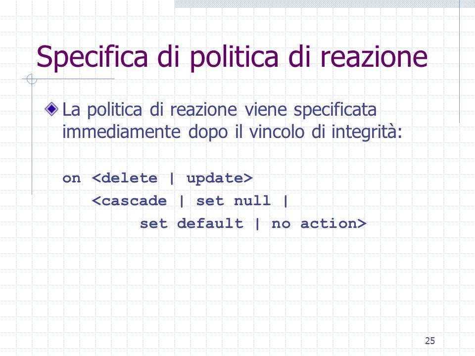 25 Specifica di politica di reazione La politica di reazione viene specificata immediamente dopo il vincolo di integrità: on <cascade | set null | set default | no action>