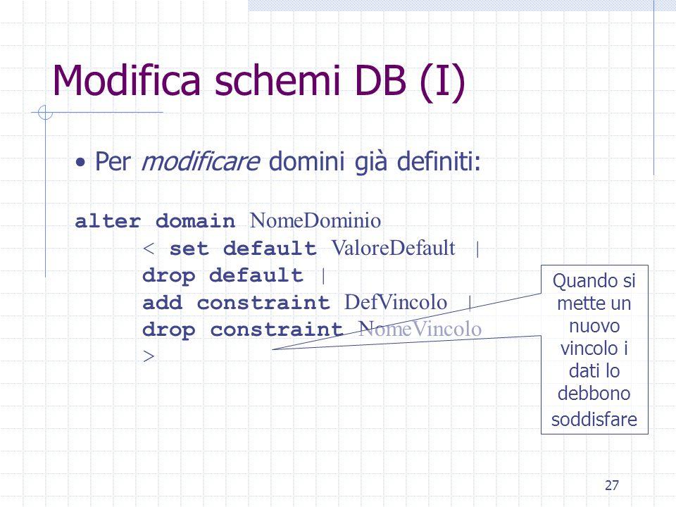 27 Modifica schemi DB (I) Per modificare domini già definiti: alter domain NomeDominio < set default ValoreDefault | drop default | add constraint DefVincolo | drop constraint NomeVincolo > Quando si mette un nuovo vincolo i dati lo debbono soddisfare