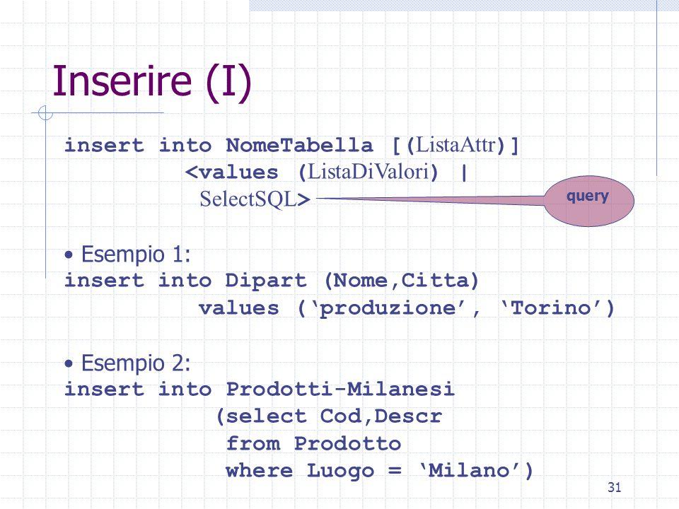 31 Inserire (I) insert into NomeTabella [( ListaAttr )] <values ( ListaDiValori ) | SelectSQL > Esempio 1: insert into Dipart (Nome,Citta) values ('produzione', 'Torino') Esempio 2: insert into Prodotti-Milanesi (select Cod,Descr from Prodotto where Luogo = 'Milano') query