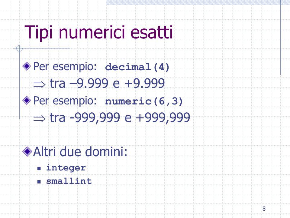 39 Vincoli (II) Esempio: create table Impiegati (Matr character(6) check (Matr is not null and 1 = (select count(*) from Impiegato I where Matr = I.Matr)), Cogn character(20) check (Cogn is not null and 2 > (select count(*) from Impiegato I where Nome = I.Nome and Cogn = I.Cogn)), Nome character(20) check (Nome is not null and 2 > (…)), Dip character(5) check (Dip in (select NomeD from Dipartimento))) Vincolo di integrità Un solo impiegato con stesso nome/ cognome