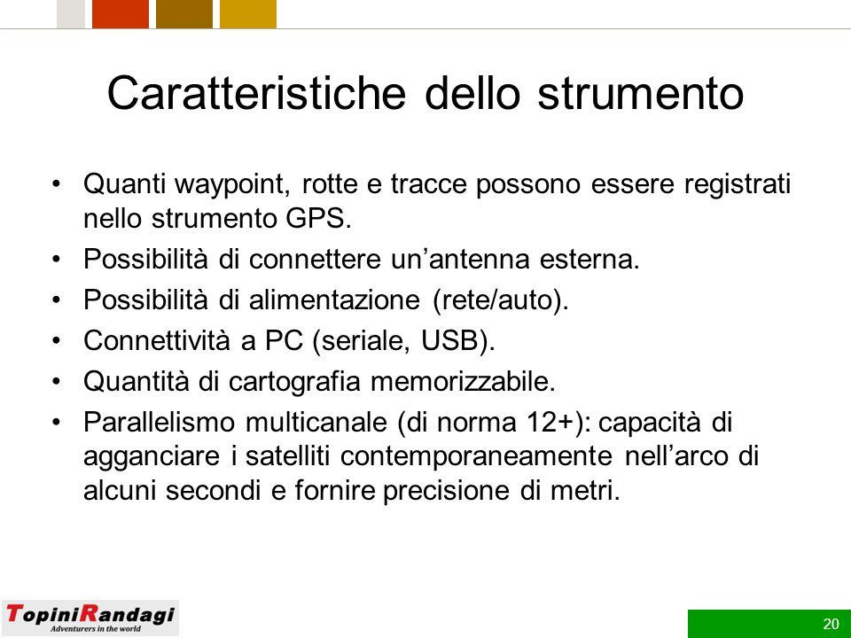 19 Utilizzi di base del GPS La visualizzazione delle coordinate geografiche.