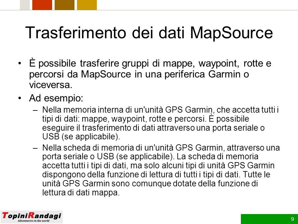 8 MapSource - Barra di stato La barra di stato si trova nella parte inferiore della finestra MapSource e visualizza varie informazioni sull azione che viene eseguita.