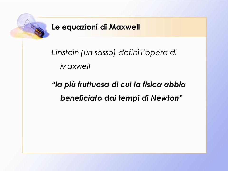 Le equazioni di Maxwell La forza elettromagnetica agente su una particella immersa in un campo elettromagnetico