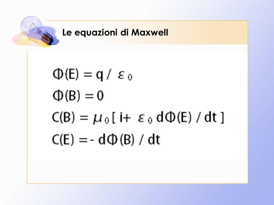 Le prime due equazioni rappresentano il teorema di Gauss per il campo elettrico E e per il campo magnetico B