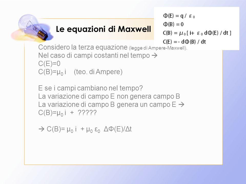 Le equazioni di Maxwell Considero la terza equazione (legge di Ampere-Maxwell). Nel caso di campi costanti nel tempo  C(E)=0 C(B)=µ 0 i (teo. di Ampe