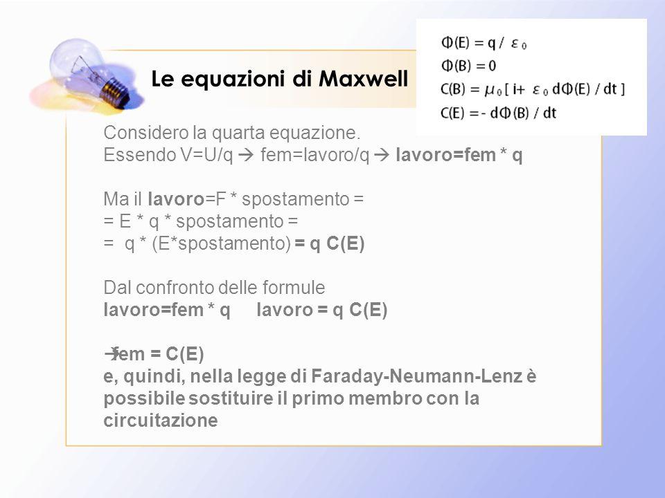 Le equazioni di Maxwell Considero la quarta equazione. Essendo V=U/q  fem=lavoro/q  lavoro=fem * q Ma il lavoro=F * spostamento = = E * q * spostame