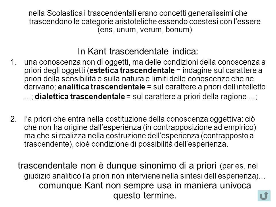 nella Scolastica i trascendentali erano concetti generalissimi che trascendono le categorie aristoteliche essendo coestesi con l'essere (ens, unum, ve