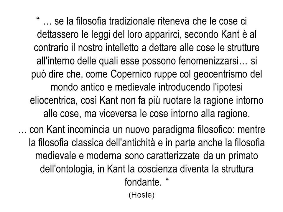 """"""" … se la filosofia tradizionale riteneva che le cose ci dettassero le leggi del loro apparirci, secondo Kant è al contrario il nostro intelletto a de"""