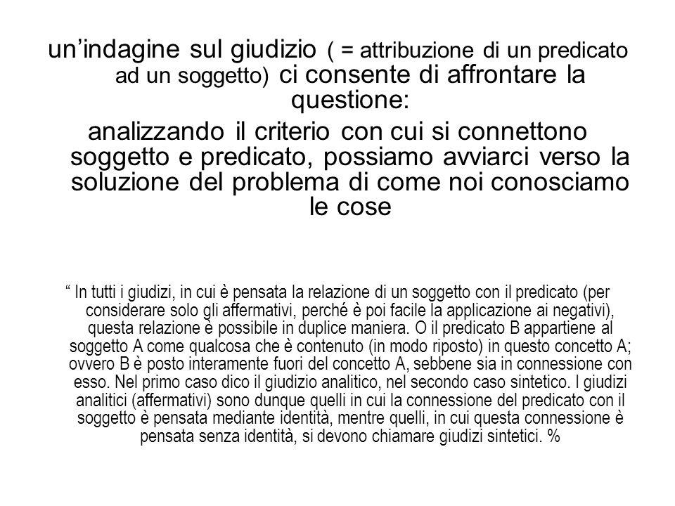 un'indagine sul giudizio ( = attribuzione di un predicato ad un soggetto) ci consente di affrontare la questione: analizzando il criterio con cui si c