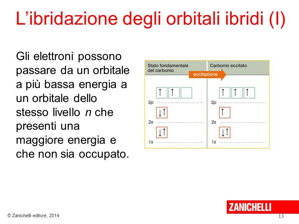 L'ibridazione degli orbitali ibridi (I) 13 © Zanichelli editore, 2014 Gli elettroni possono passare da un orbitale a più bassa energia a un orbitale dello stesso livello n che presenti una maggiore energia e che non sia occupato.