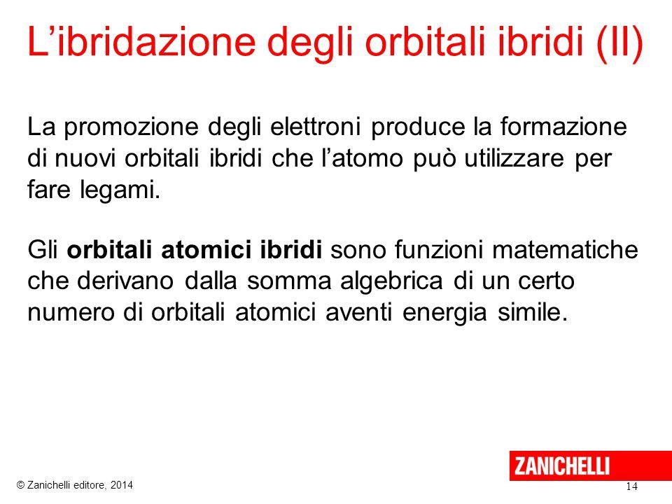 L'ibridazione degli orbitali ibridi (II) 14 © Zanichelli editore, 2014 La promozione degli elettroni produce la formazione di nuovi orbitali ibridi che l'atomo può utilizzare per fare legami.