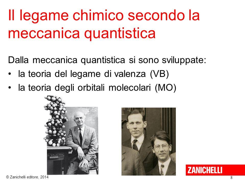 Il legame chimico secondo la meccanica quantistica 8 © Zanichelli editore, 2014 Dalla meccanica quantistica si sono sviluppate: la teoria del legame di valenza (VB) la teoria degli orbitali molecolari (MO)