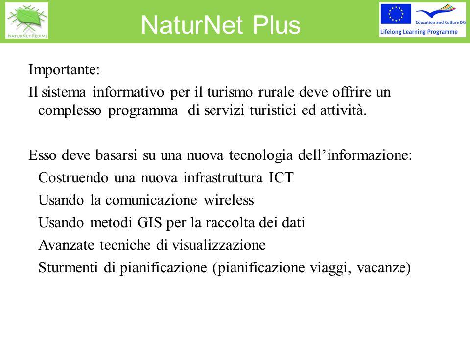 NaturNet Plus Importante: Il sistema informativo per il turismo rurale deve offrire un complesso programma di servizi turistici ed attività. Esso deve