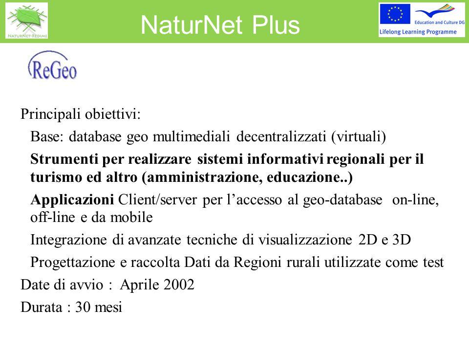 NaturNet Plus Principali obiettivi:  Base: database geo multimediali decentralizzati (virtuali)  Strumenti per realizzare sistemi informativi region