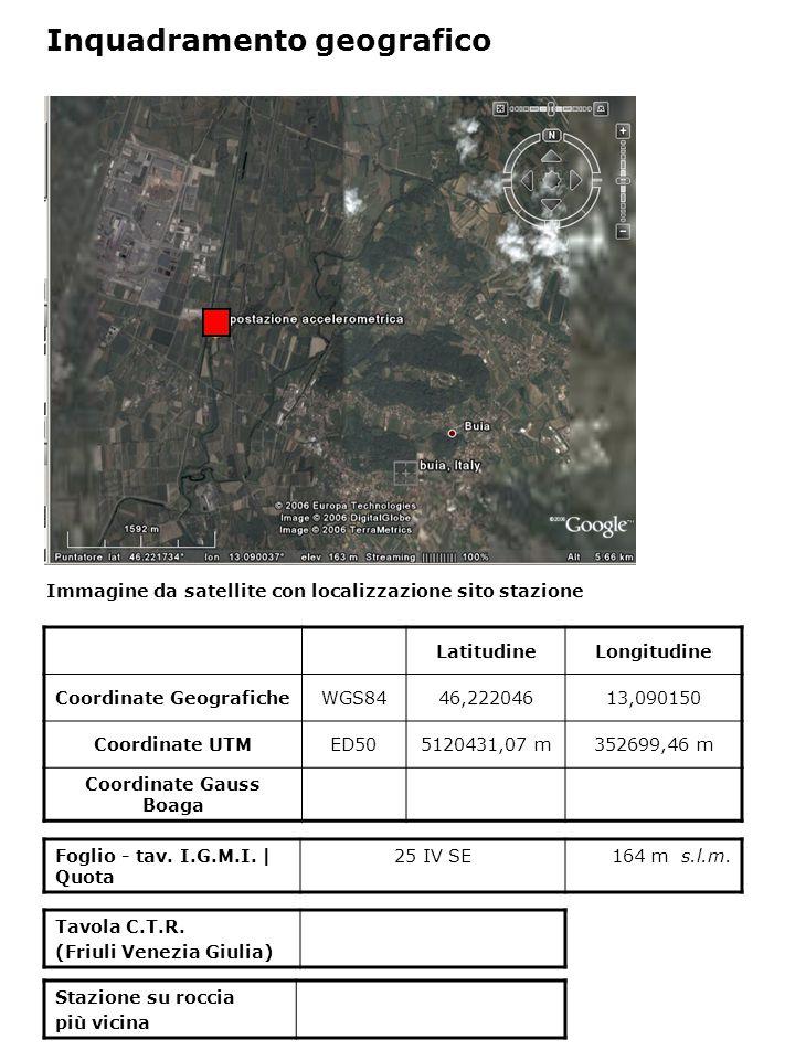 Immagine da satellite con localizzazione sito stazione Foglio - tav. I.G.M.I. | Quota 25 IV SE164 m s.l.m. Inquadramento geografico LatitudineLongitud