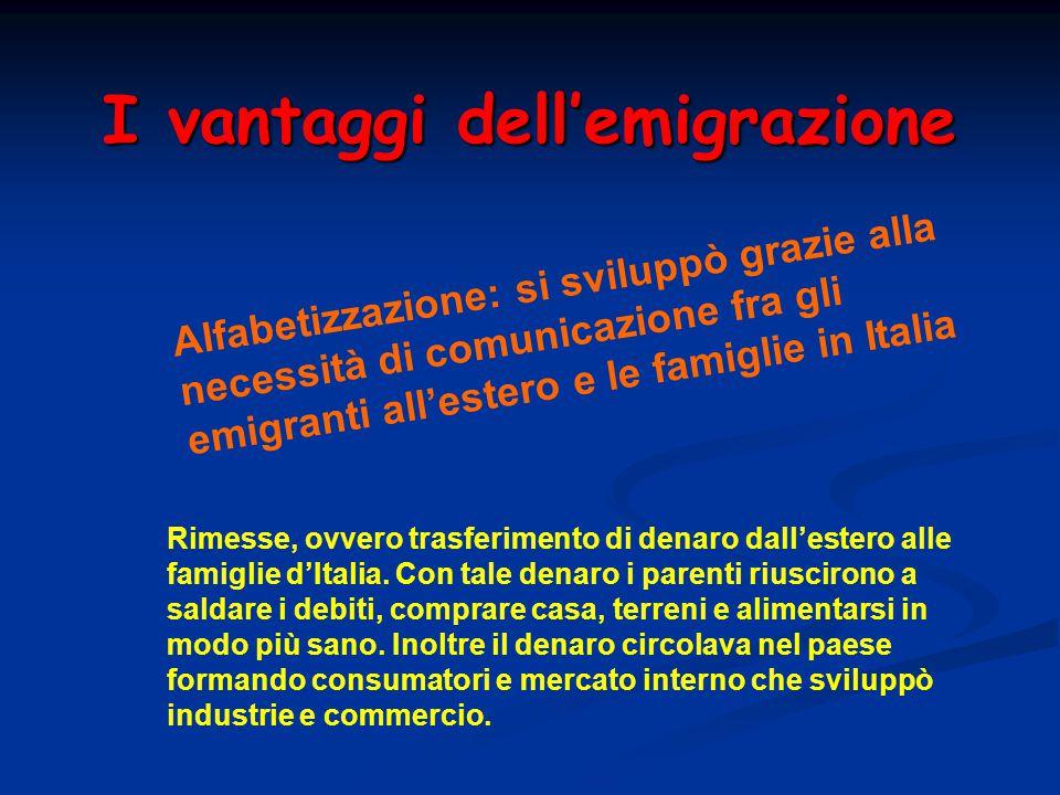 I vantaggi dell'emigrazione Rimesse, ovvero trasferimento di denaro dall'estero alle famiglie d'Italia. Con tale denaro i parenti riuscirono a saldare
