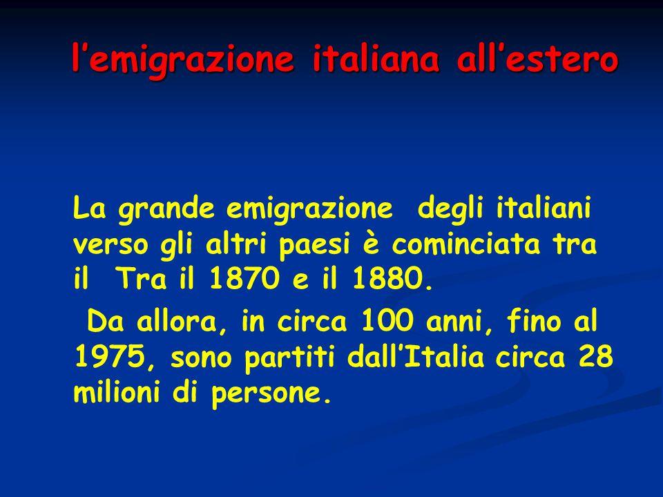 l'emigrazione italiana all'estero La grande emigrazione degli italiani verso gli altri paesi è cominciata tra il Tra il 1870 e il 1880. Da allora, in