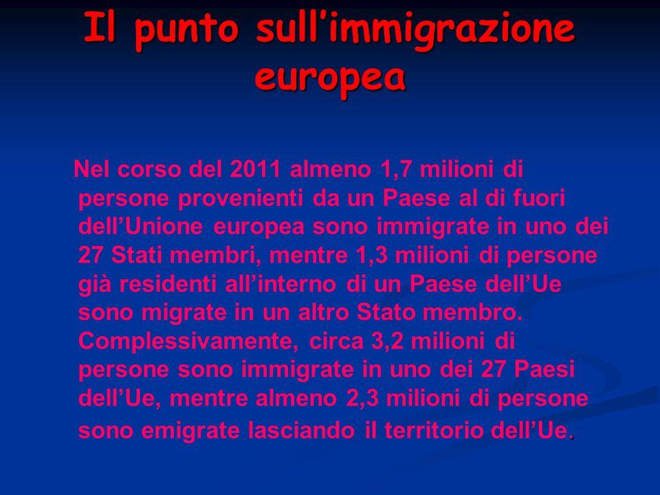 Il punto sull'immigrazione europea. Nel corso del 2011 almeno 1,7 milioni di persone provenienti da un Paese al di fuori dell'Unione europea sono immi
