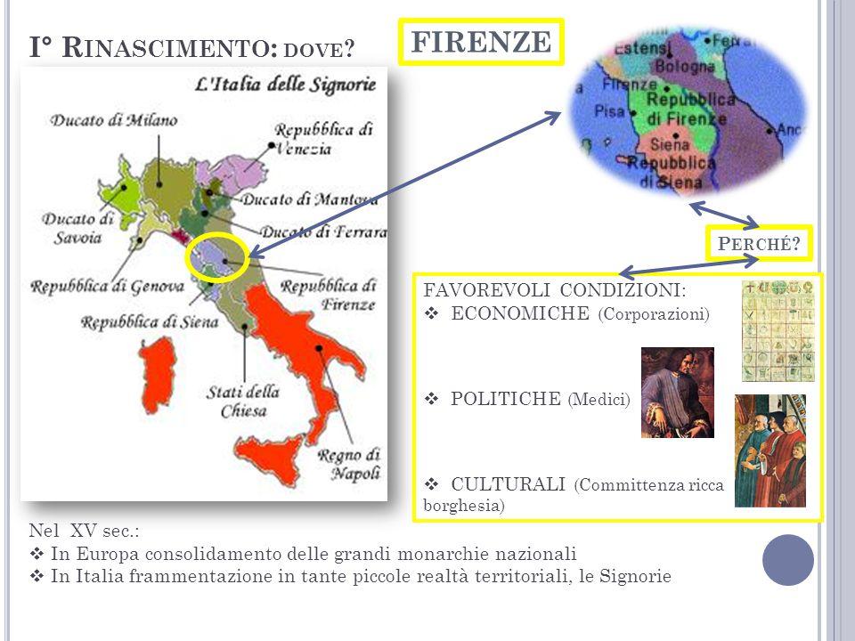 Da Firenze, le novità dello stile rinascimentale, dopo qualche decennio passano alle altre signorie italiane e poi in Europa soprattutto in area Fiamminga.