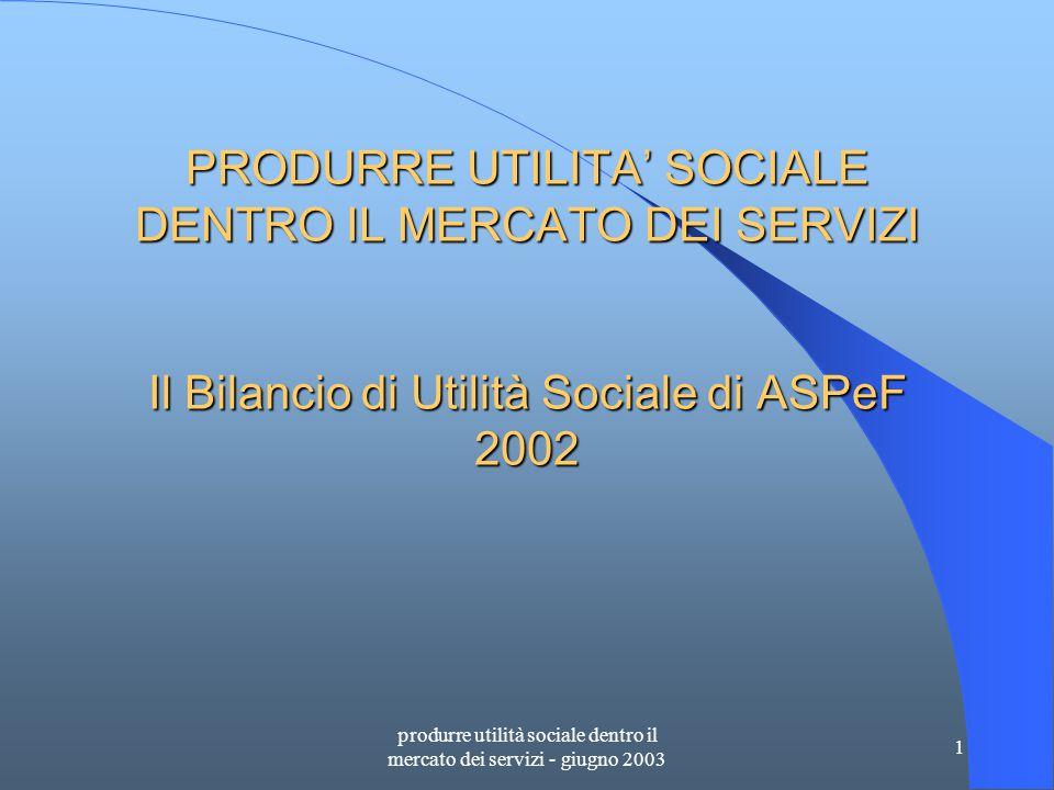 produrre utilità sociale dentro il mercato dei servizi - giugno 2003 1 PRODURRE UTILITA' SOCIALE DENTRO IL MERCATO DEI SERVIZI Il Bilancio di Utilità Sociale di ASPeF 2002