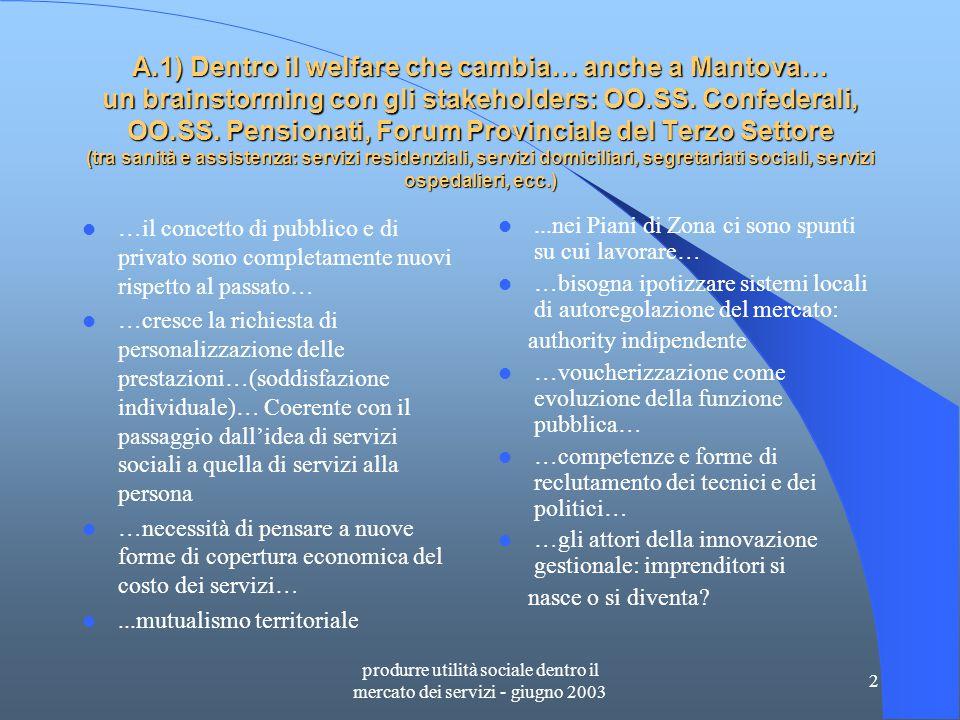 produrre utilità sociale dentro il mercato dei servizi - giugno 2003 23 C.8) ASPEF Rapporto Costi/Ricavi