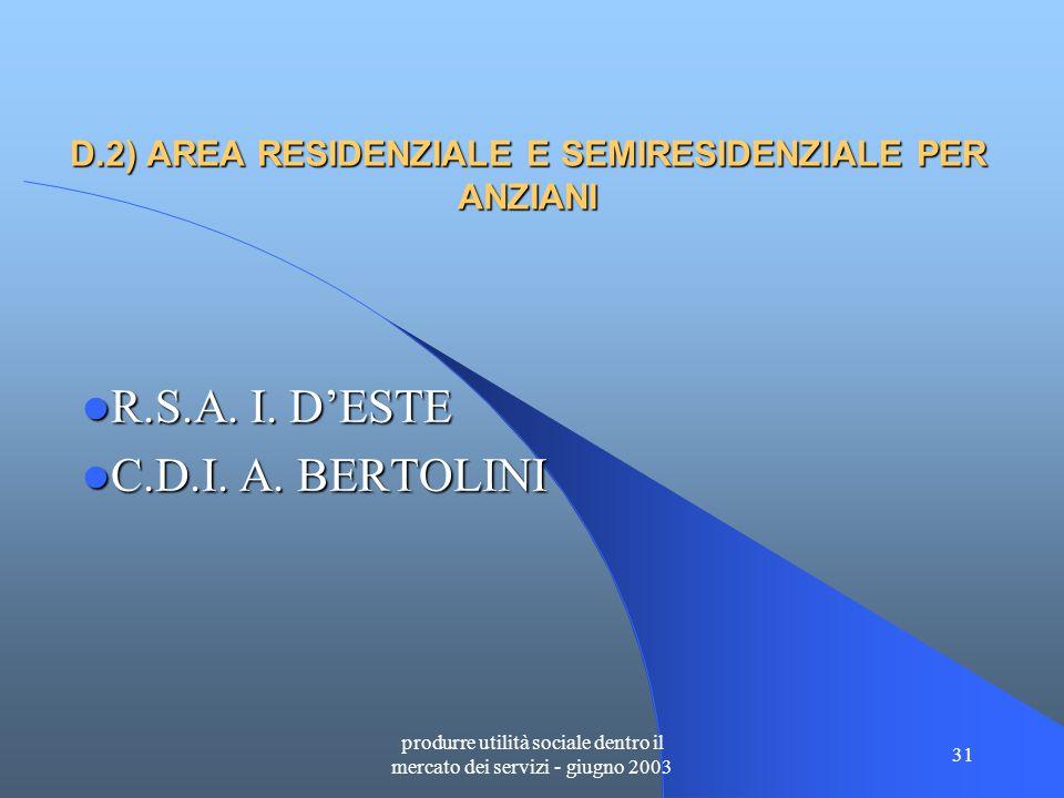 produrre utilità sociale dentro il mercato dei servizi - giugno 2003 31 D.2) AREA RESIDENZIALE E SEMIRESIDENZIALE PER ANZIANI R.S.A.
