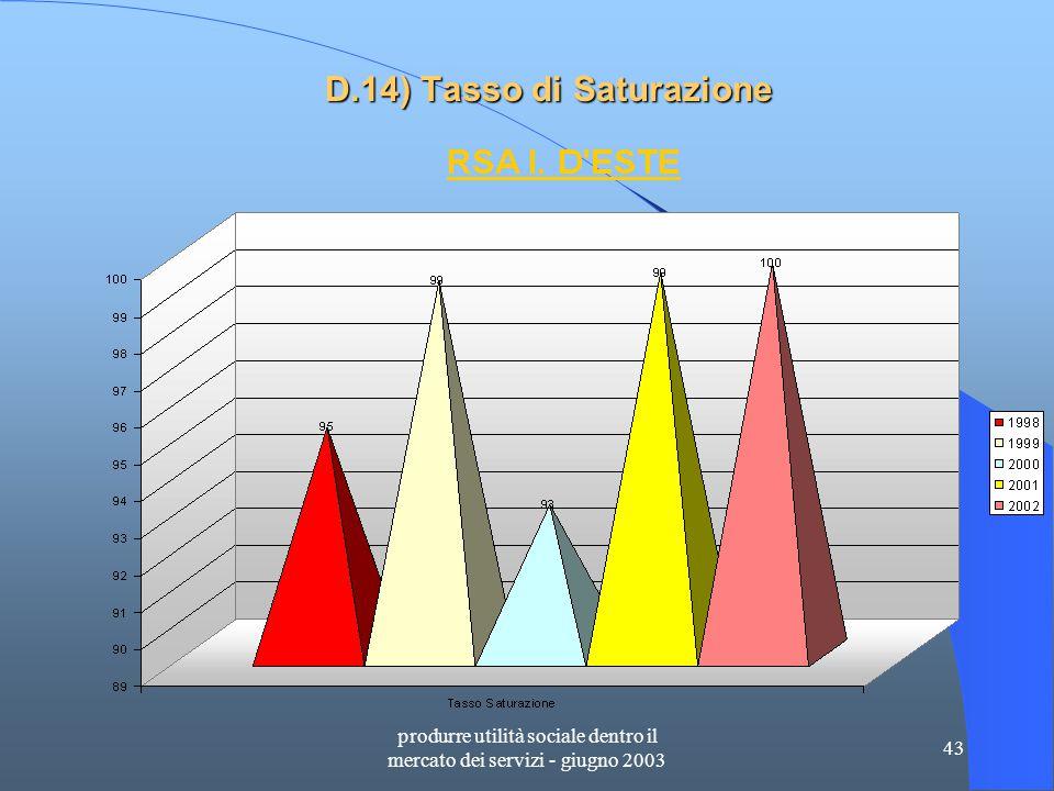 produrre utilità sociale dentro il mercato dei servizi - giugno 2003 43 D.14) Tasso di Saturazione